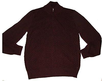 Calvin Klein Mens Quarter Zip Long Sleeve Knit Sweater,