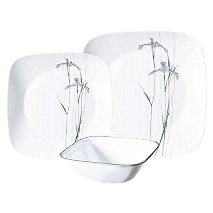 Amazon.com | Corelle Square Shadow Iris 18-Piece Dinnerware Set ...