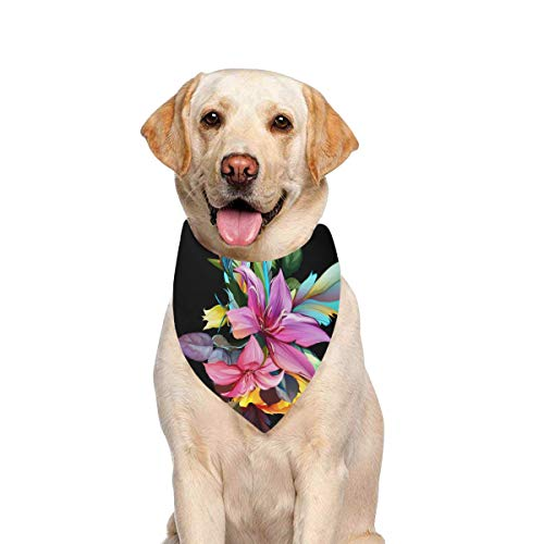 - JTMOVING Dog Scarf Bouquet Floral Wild Flowers Bird Printing Dog Bandana Triangle Kerchief Bibs Accessories for Large Boy Girl Dogs Cats Pets Birthday Party Gift