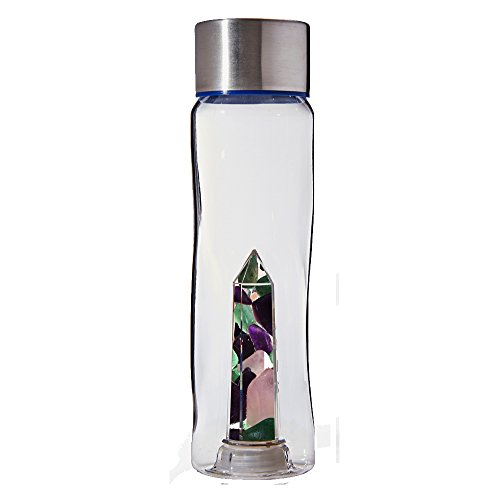 - Bewater Glow Re-usable Water Bottle with Gemstone Center: Amethyst, Rose Quartz and Green Aventurine (Tritan Plastic)