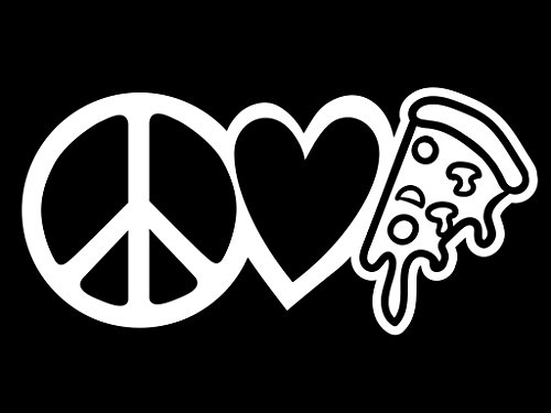 Peace Love Pizza Vinyl Decal Sticker | Cars Trucks Vans Walls Laptops Cups | White | 7.5 X 3.6 Inch | KCD1638W - Commercial Costume Ideas