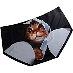 FasiCat Pussycat Panties Cat Underwear Safty Sexy Lingerie Hipsters Invisible 3D Cat Brief For Women One Size Black