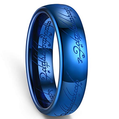 Zoesky 6mm 8mm Magic Tungsten Carbide Ring High Polished Blue Comfort Fit Wedding Band (Blue 6mm, 5)