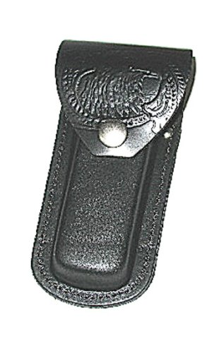 Black Leather Pocket Knife Case/ Holder/ Sheath With Snap Eagle Tooling