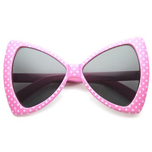 zeroUV - Women's Fashion Polka Dot Bow-Tie Oversized Sunglasses 60mm (Pink / - Ties Sunglass