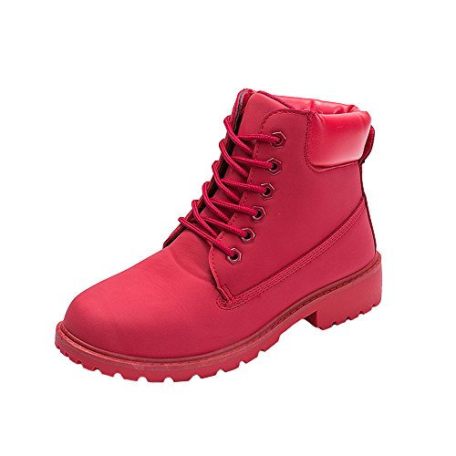 - WUIWUIYU Men's Women's High-Top Lace Up Ankle Boots Combat Booties Outdoor Walking Hiking Trekking Shoes Red US Women Size 9 M