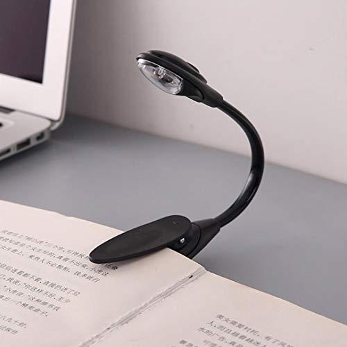SHJNHAN Mini LED Clip Booklight, Lamp Fine Convenient Portable Travel Book Reading Light (Black)