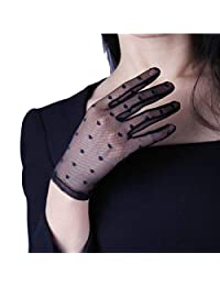 DooWay TECH Lace Simple Fashion Gloves Black Dot Handmade Stretch Tulle Semi Sheer Short Wedding Gloves Touchscreen Evening Driving