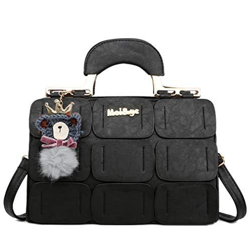 Coofig Women Tote Bag PU Leather Handbags Top Handle Satchel Purse Shoulder Bag Boston Bag (Black)