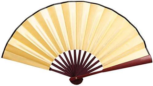 折りたたみ手のファン 中国の扇子手作りのソリッドハンド扇子エレガントな扇子結婚式パーティーギフトファン (Color : Yellow)