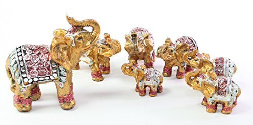 (Feng Shui Set of 7 ~ Vintage Small Gold Indian Elephant Family Statues Wealth Lucky Figurines Home Decor Housewarming Congratulatory Gift US)