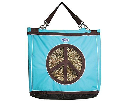 Derby Originals Reflective Top Load Hay Bags with Peace Sign Opening, Turquoise