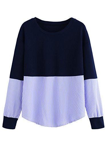Milumia Womens Contrast Stripe Drop Shoulder Sweatshirt