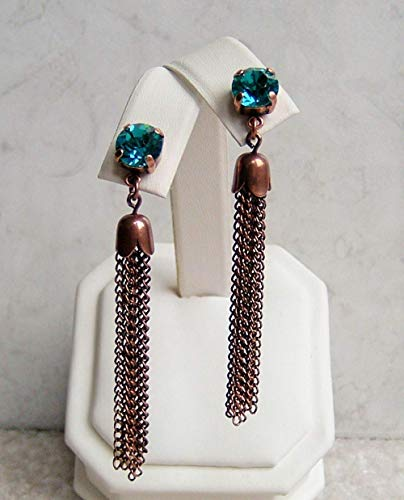 Antique Button Earrings - Cute Indicolite Round Crystal Stud Earrings Antique Copper Tassel Made With Swarovski Gift Idea
