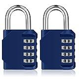 Combination Lock,4 Digit Padlock for Gym, Employee, School Locker, Fence, Case, Hasp Cabinet & Storage - Set Your Own Keyless Resettable Combo, Waterproof & Weatherproof (Blue, 2 Pack)