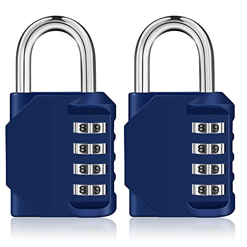 Combination Lock,4 Digit Padlock for Gym, Employee, School Locker, Fence, Case, Hasp Cabinet & Storage - Set Your Own Keyless Resettable Combo, Waterproof & Weatherproof (Blue, 2 Pack) by ZHENGE