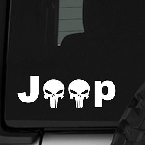 ReplaceMyParts Jeep Punisher Skulls Print - Car Auto Window Vinyl Decal Sticker for Jeep Wrangler Car Truck SUV - 7.5 Inch