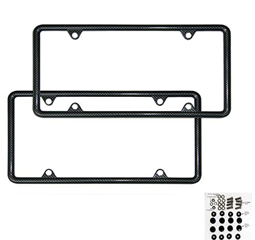 Flat Plate Carbon Fiber - SIBUXIANG The Printed Carbon Fiber License Plate Frame Made of Zinc Alloy Never Rust Slim Edge with Stainless Steel Screws and Plastics Caps (Carbon Fiber)