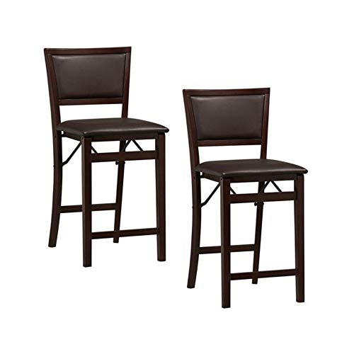 Linon Home Decor Keira Pad Back Folding Counter Stool, 24-Inch (Espresso, 2 Pack(24-Inch)