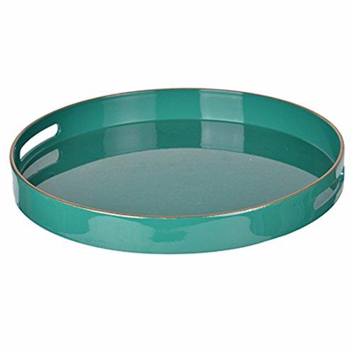 Benzara Mimosa Round Tray with Cutout Handles, Green by Benzara