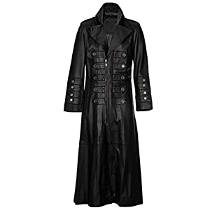 Gothic Steampunk Military Style PU Leather Full Length Trench Coat