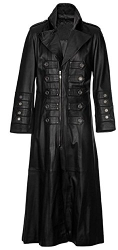 Gothic Steampunk Military Style PU Leather Full Length Trench Coat 3