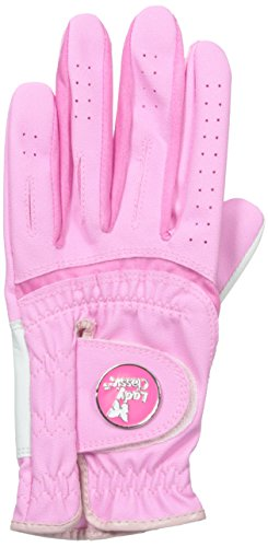 (Lady Classic Women's Soft Flex Gloves with Magnetic Ball Marker, Left Hand, Pink, Medium)