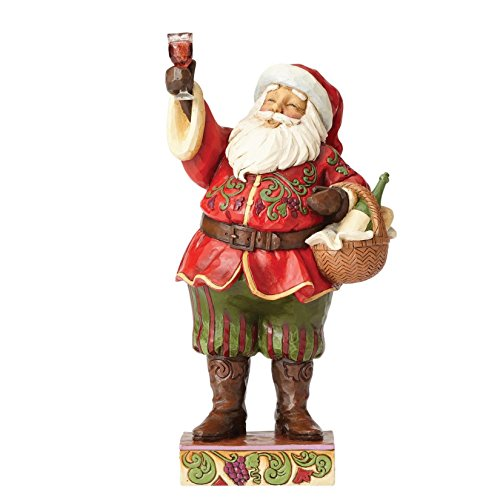 Enesco Jim Shore Heartwood Creek Toasting Traditions Santa with Wine Glass Stone Resin Figurine, 10.5