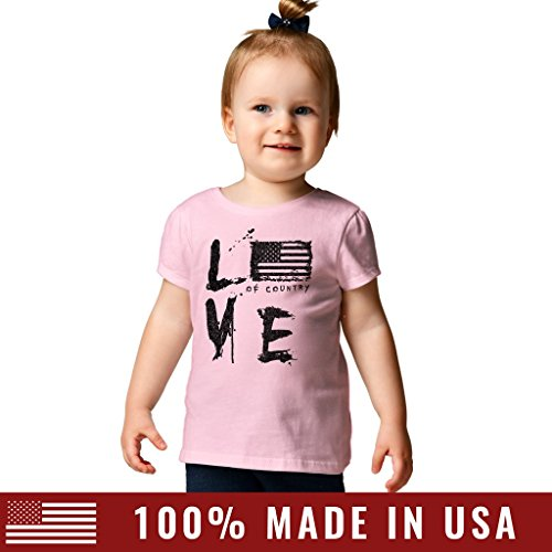 Grunt Style Love of Country Toddler Girl's T-Shirt, Color Pink, Size 2T/3T