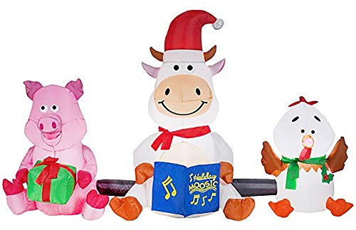Gemmy Barnyard Farm Animals Christmas Synchronized LightShow Airblown Inflatable Indoor/Outdoor Holiday Decoration