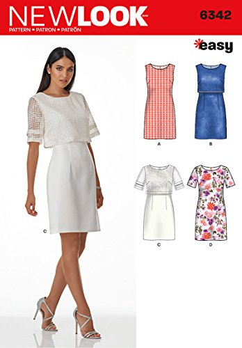 New Look Patterns UN6342A Misses' Dress with or Without Overbodice, A (8-10-12-14-16-18-20)