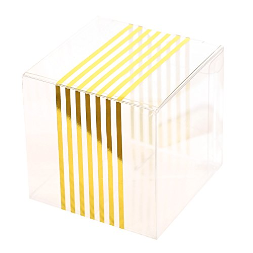 Ling's moment 50 pcs 2x2x2 Clear Cake Box, Wedding Favors with Gold Stripes for Baby Shower