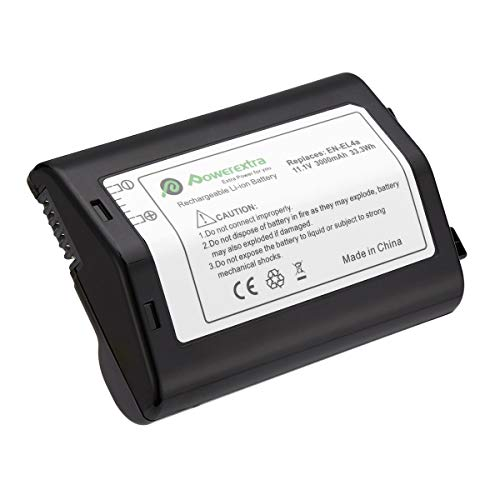 Powerextra 3000mAh EN-EL4 EN-EL4A Battery Compatible with Nikon D2Z D2H D2Hs D2X D2Xs D3 D3S D3X F6 Camera and D300 D300S D700 MB-D10 MB-40 Battery Grip