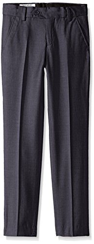 Isaac Mizrahi Boys' Big Wool Blend Slim Pant, Charcoal, 10
