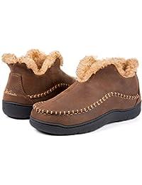 Men's Microsuede Fuzzy Warm Fleece Lining Moccasin Slippers Cozy Memory Foam Indoor Outdoor House Shoes