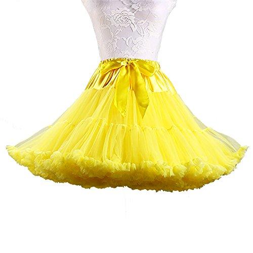 MAXGOODS Adult Women Dance Petticoat Pettiskirt Underskirt Tutu Crinoline,Yellow - Petticoat Tutu