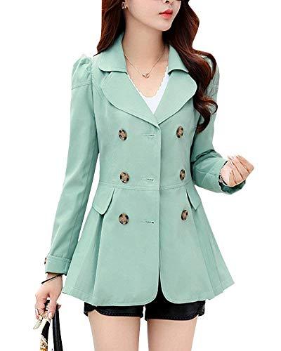 Femme Automne Fit Double Manches Slim Boutonnage Blouson El Fille Manteau Outerwear Longues Printemps 4wq4r
