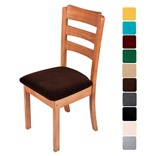 smiry Original Velvet Dining Chair Seat Covers, Stretch Fitted Dining Room Upholstered Chair Seat Cushion Cover, Removable Washable Furniture Protector Slipcovers with Ties – Set of 6, Coffee