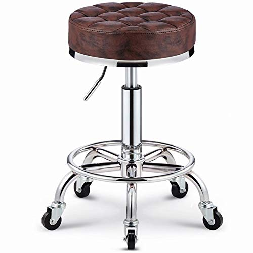 (WEIYV- Chairs,Swivel Chairs, Beauty Chair Rotate Lifting Stool Explosion Proof Haircut Big Work Hairdresser Stool Round Pulley Master Chair (Color : Tiger Skin Brown, Size : 35-63cm))