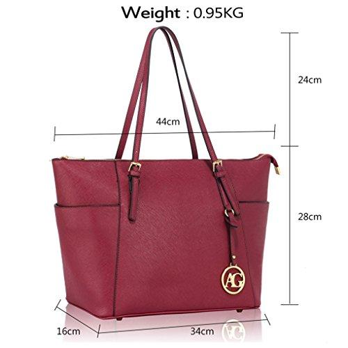 Shoulder Quality Oversize Bags Women Bag Shopper AG CHARM Women's LeahWard® BURGUNDY Handbags Faux CW30 For Leather Holiday School Iwf0qntd