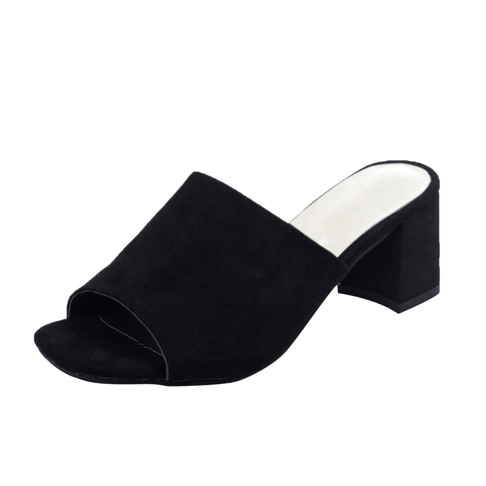 Newlyblouw New Women High Heel Slippers Ladies Summer Casual Sexy Flock Square Slip-On Shoes Fashion Wedges Open Toe Sandals Black