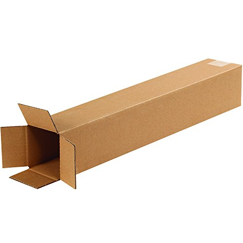 BOX USA B4424100PK Tall Corrugated Boxes, 4'' L x 4'' W x 24'' H, Kraft (Pack of 100) by BOX USA