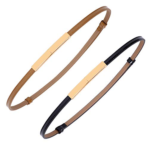 2 PACK WERFORU Women Patent Skinny Thin Leather Waist Belt with Golden Buckle (Black+Brown, Waist Size below 40 Inches)