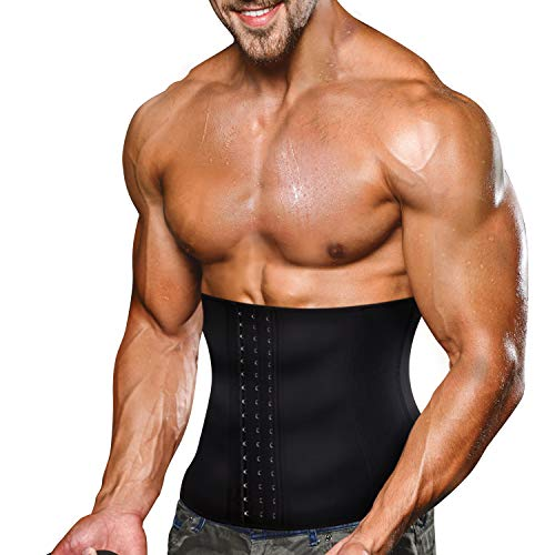 Wonderience Men Waist Trainer Belt Slimming Body Shaper Sweat Weight Loss Corset (Black, M)