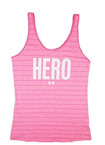 "Under Armour Women's UA Power In Pink ""Hero"" Striped Tank Top (Medium, Cerise (653))"