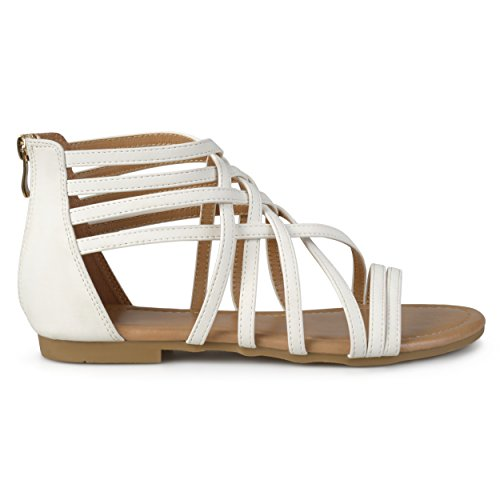 Brinley Co Womens Hex Wide Width Strappy Gladiator Flat Sandals White lbbK6f