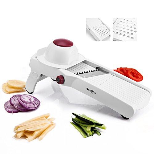 Auxcuiso Mandoline Slicer Adjustable for Vegetables Fruits Cheeses 6 Styles Julienne Slicer Grater Cutter