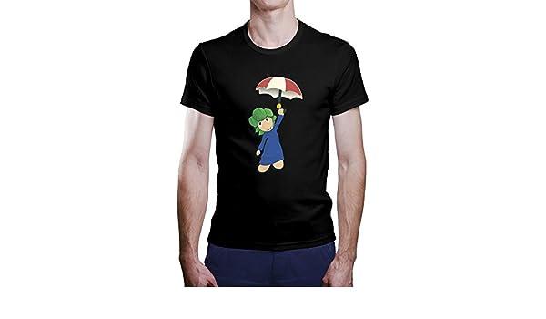 Una Camiseta de Hombre con Lemming con su Paraguas. Camiseta Friki de Color Negra: Amazon.es: Ropa y accesorios
