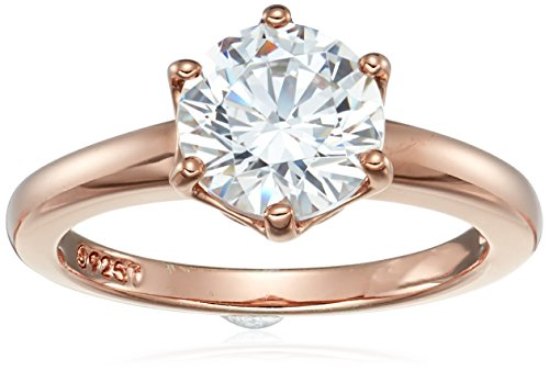 Amazon CollectionRose Gold-Plated Sterling Silver Swarovski Zirconia Round Solitaire Ring, Size 6