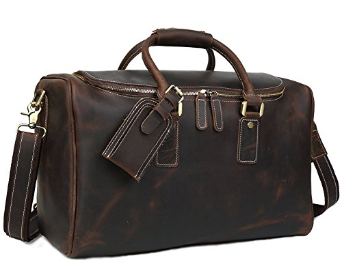 Polare Real Leather Vintage Travel Luggage Duffle Bag /Gym Bag/ Overnight bag by Polare (Image #9)